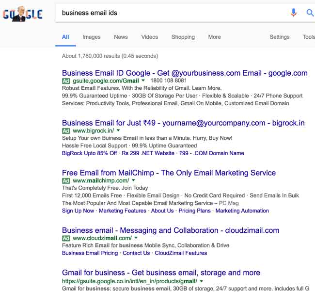 Business Email IDs Search Results on Google
