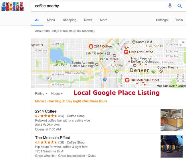 Local Google Place Listing