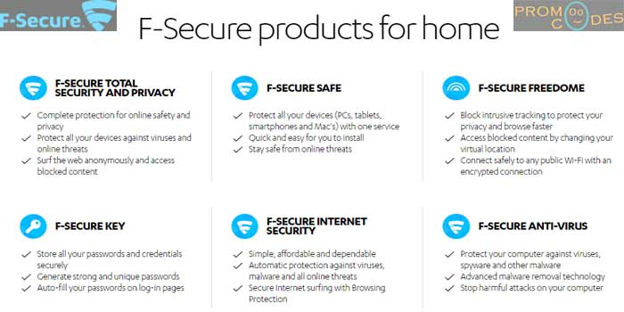 F-Secure Vast range of products for Personal Security