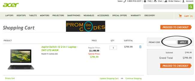 How you can apply Acer Coupons and promo codes.
