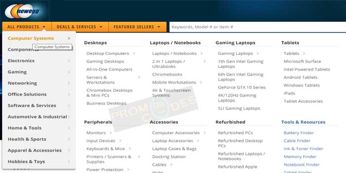 Vast range of products from NewEgg
