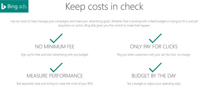 Affordable Bing Ads Pricing Features