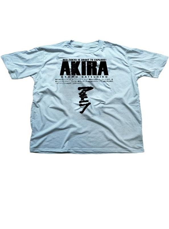Anime T-shirt Akira Neo Tokyo Men Blue Cotton Tee