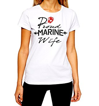 USMC Wife T-Shirt US Marines Proud Wife Spouse Women Tee
