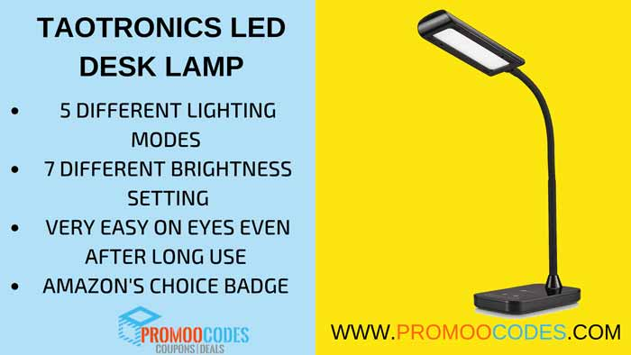 TAOTRONICS BEST SELLING LED DESK LAMP WITH 5 LIGHTING SETTING AND 7 LEVEL BRIGHTNESS ADJUSTMENT